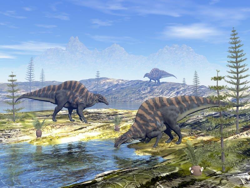 Dinossauros do Ouranosaurus - 3D rendem ilustração stock