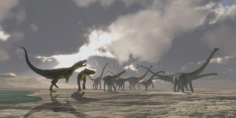 Dinossauros do Torvosaurus e do Diplodocus ilustração royalty free