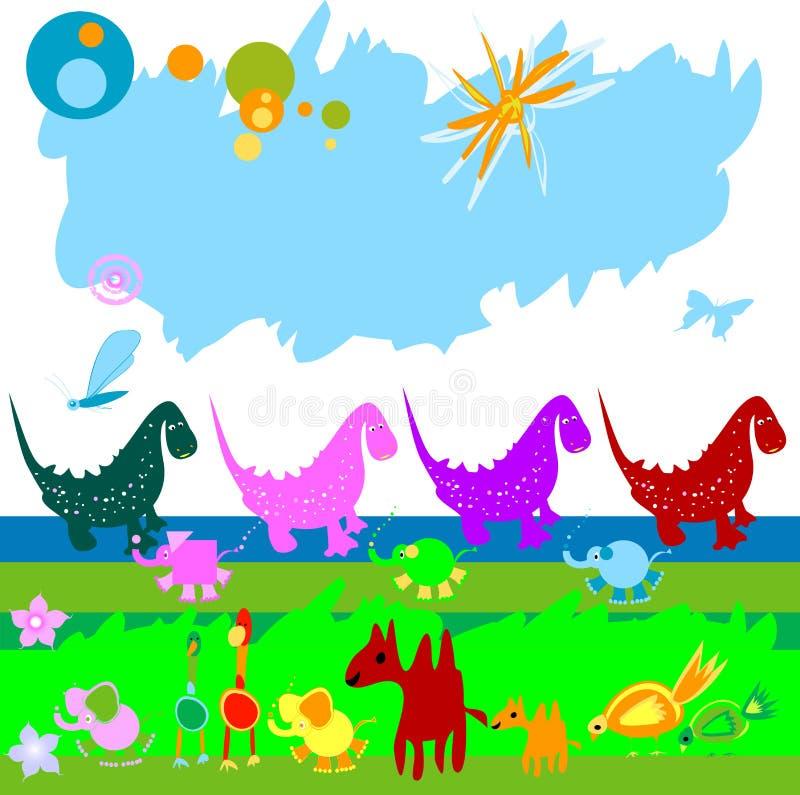 Dinossauros e outros animais pequenos ilustração royalty free