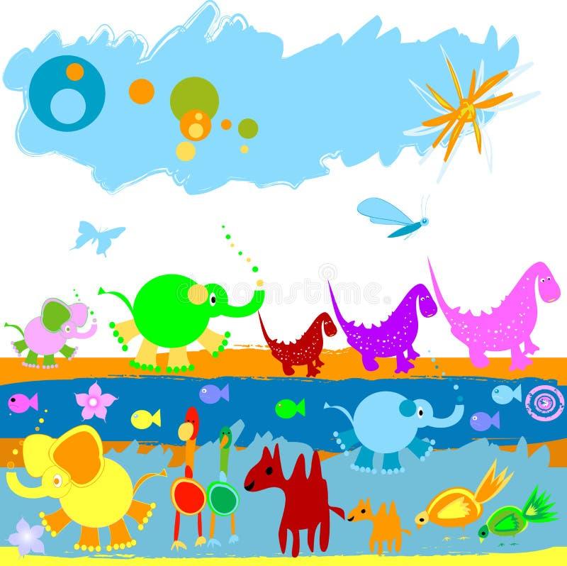 Dinossauros e outros animais pequenos ilustração stock