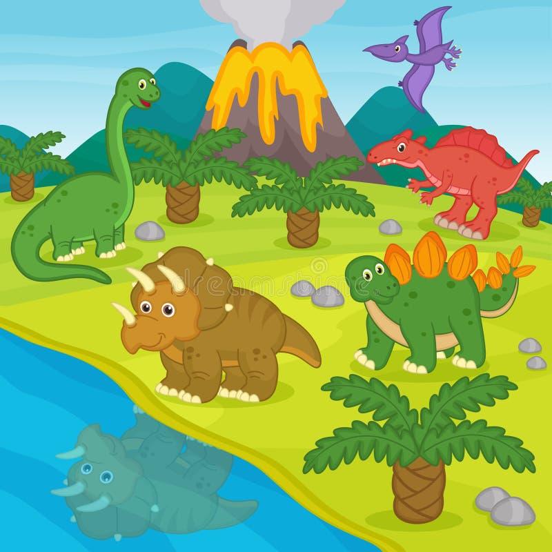 Dinossauros e paisagem pré-histórica ilustração royalty free
