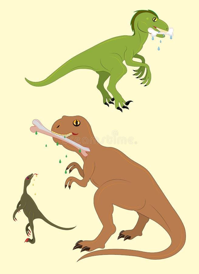 Dinossauros e pedras saborosos ilustração do vetor