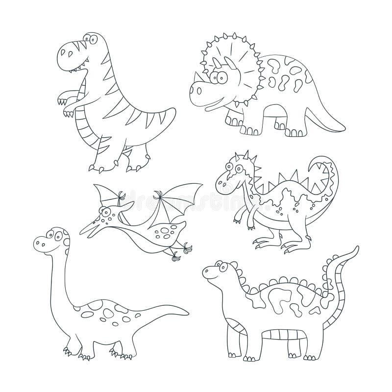 Dinossauros e plantas pré-históricas Ajuste da ilustração do vetor no estilo da garatuja e dos desenhos animados ilustração royalty free