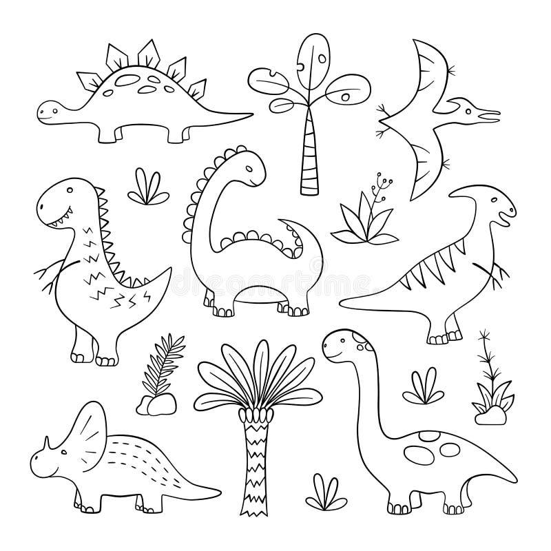 Dinossauros e plantas pré-históricas Ajuste da ilustração do vetor no estilo da garatuja e dos desenhos animados Mão desenhada ilustração royalty free