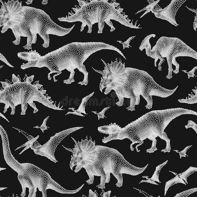 Dinossauros em pontilhar a técnica ilustração do vetor