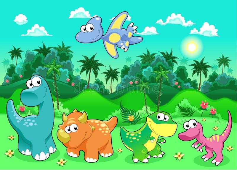 Dinossauros engraçados na floresta. ilustração royalty free