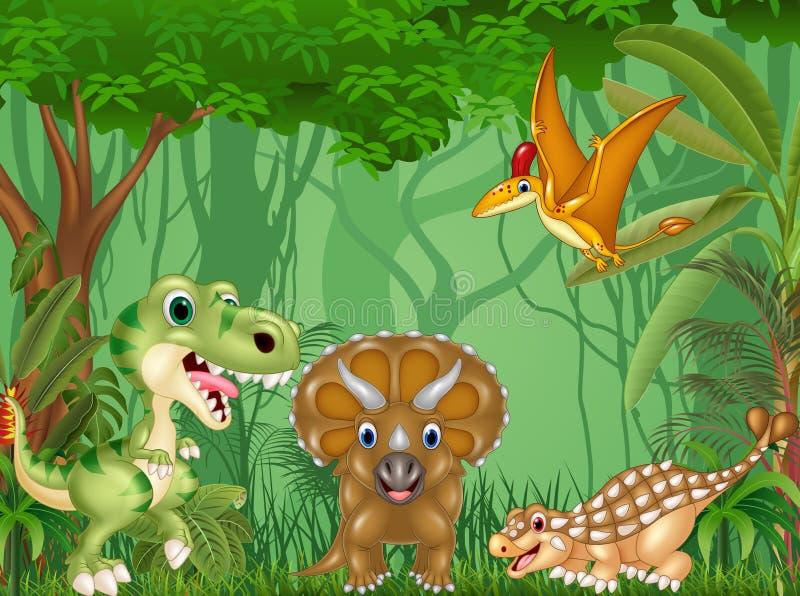 Dinossauros felizes dos desenhos animados na selva ilustração royalty free