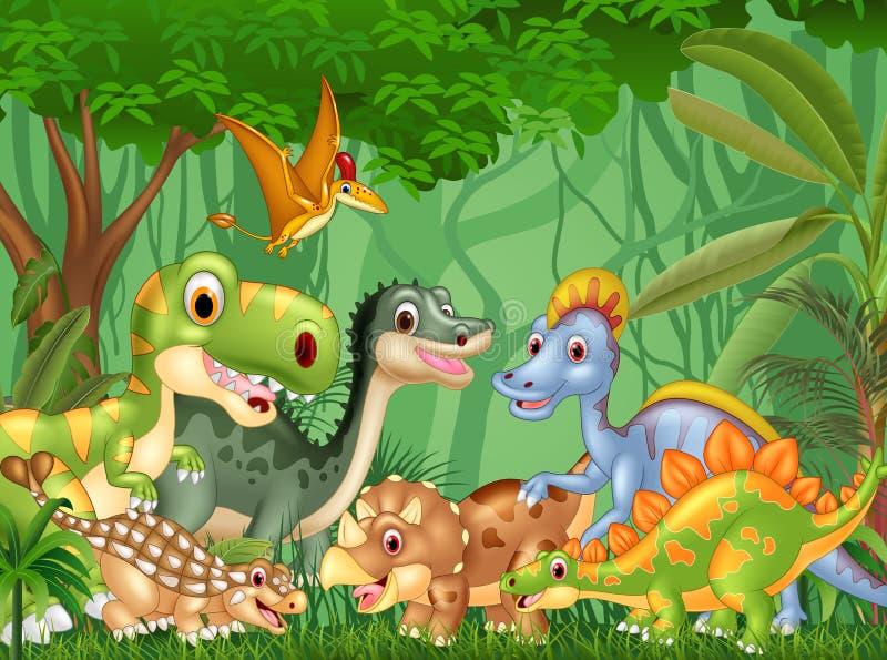Dinossauros felizes dos desenhos animados que vivem na selva ilustração royalty free