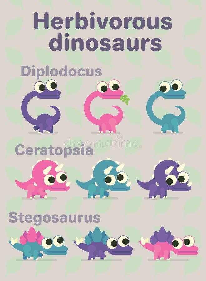 Dinossauros herbívoros Ilustração do vetor de caráteres pré-históricos no estilo liso dos desenhos animados no fundo neutro ilustração stock