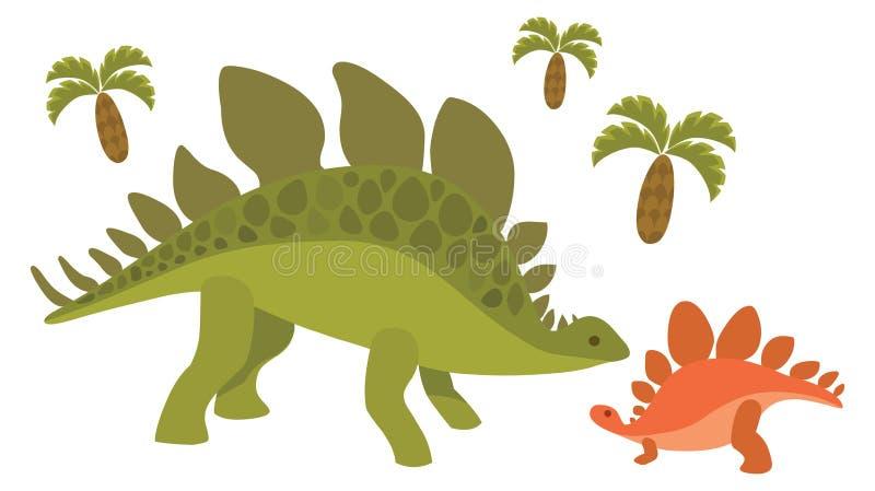 Dinossauros; mamã e bebê foto de stock