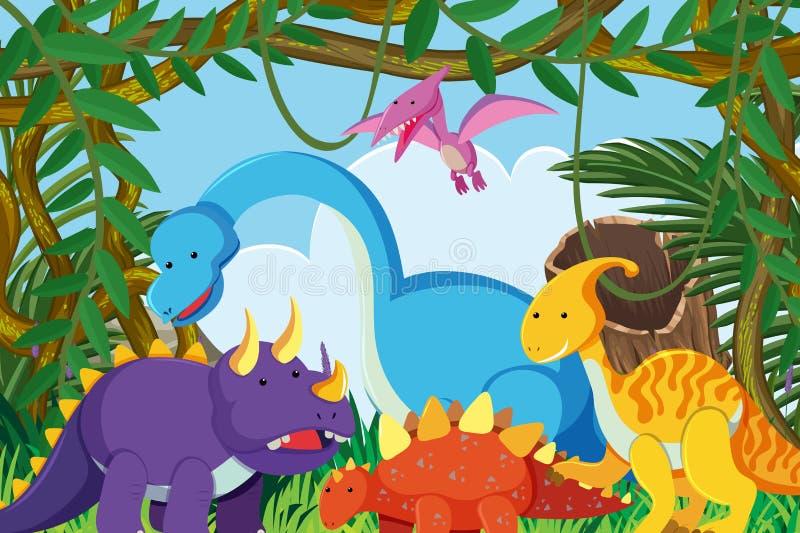 Dinossauros na cena da selva ilustração royalty free