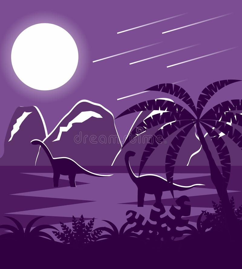 Dinossauros na paisagem lisa pré-histórica de Jurassic Park ilustração royalty free