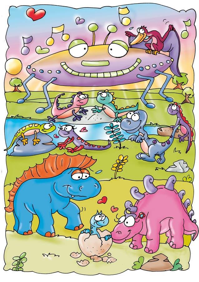 Dinossauros no festival de música ilustração royalty free