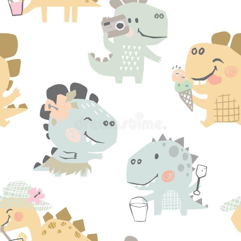 Dinossauros no teste padrão sem emenda bonito do bebê da praia Cópia doce do lazer do verão de Dino Ilustração fresca do projeto  ilustração royalty free