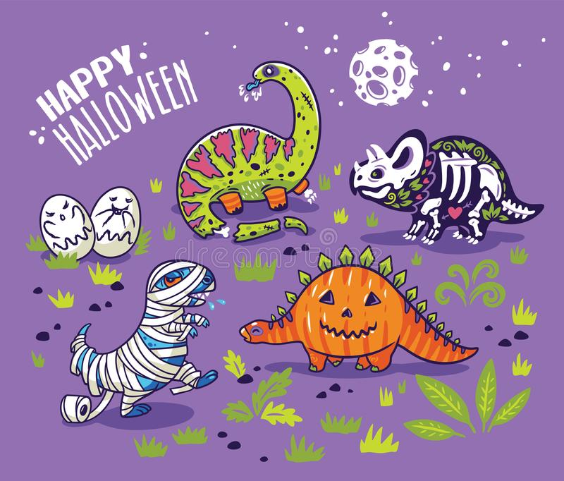 Dinossauros nos trajes para Dia das Bruxas Grupo do vetor de caráteres ilustração stock