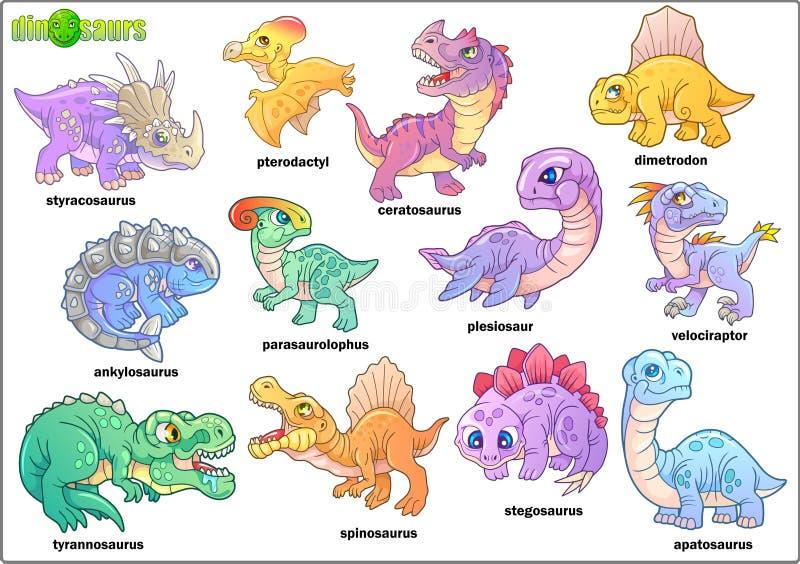Dinossauros pré-históricos bonitos, grupo de imagens, ilustração engraçada ilustração do vetor