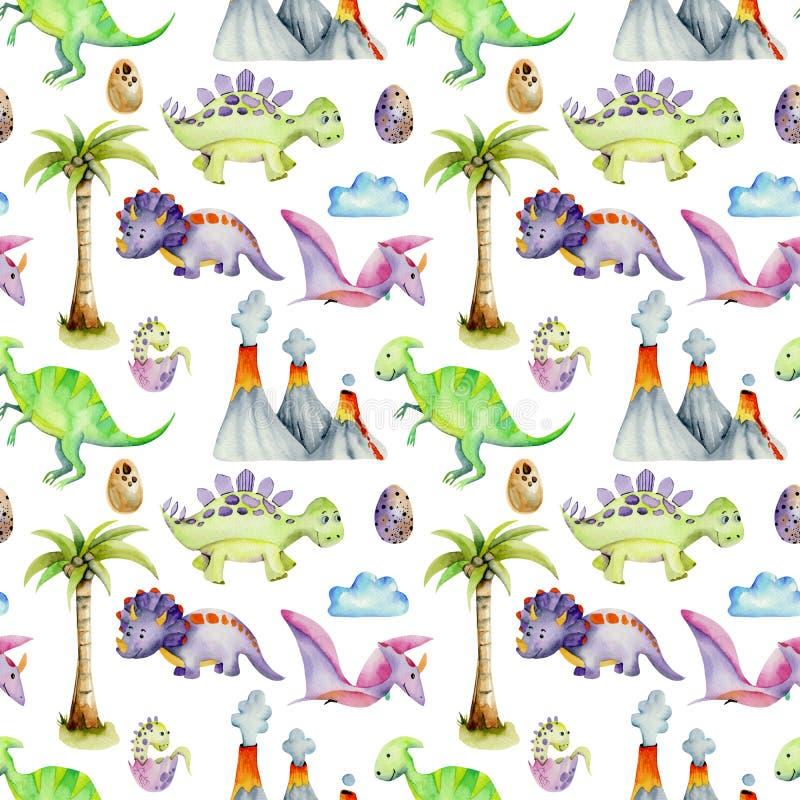 Dinossauros pré-históricos da aquarela entre o teste padrão sem emenda dos vulcões e das palmeiras ilustração royalty free
