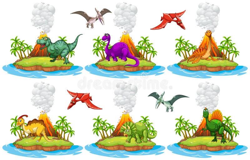 Dinossauros que vivem na ilha ilustração stock