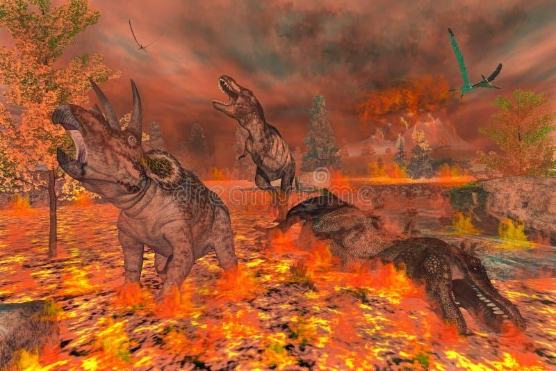Dinossauros, tiranossauro e triceratops ilustração royalty free