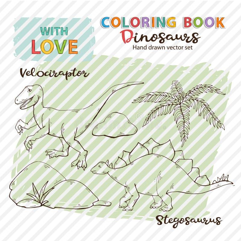 Dinossauros Velociraptor e Stegosaurus do vetor do livro para colorir, ilustração do vetor