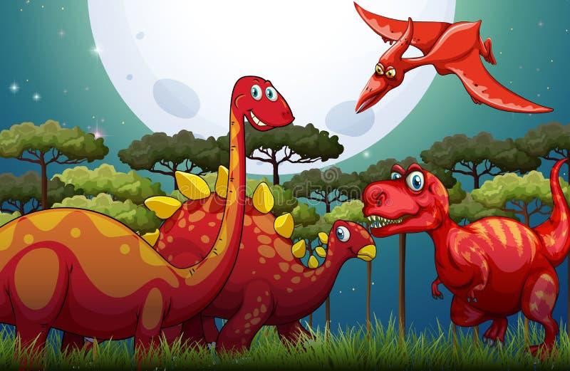 Dinosuars rouges sous la pleine lune en nature illustration de vecteur