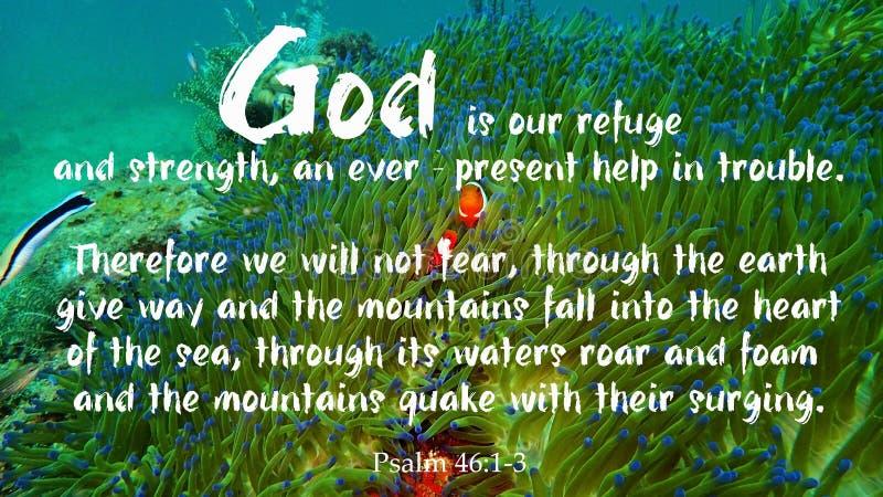 Dio è la nostra progettazione del rifugio per Cristianità con il fondo subacqueo di vita marina immagini stock