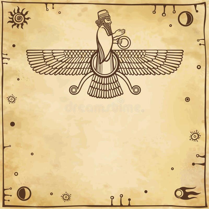 Dio alato Assyrian illustrazione di stock