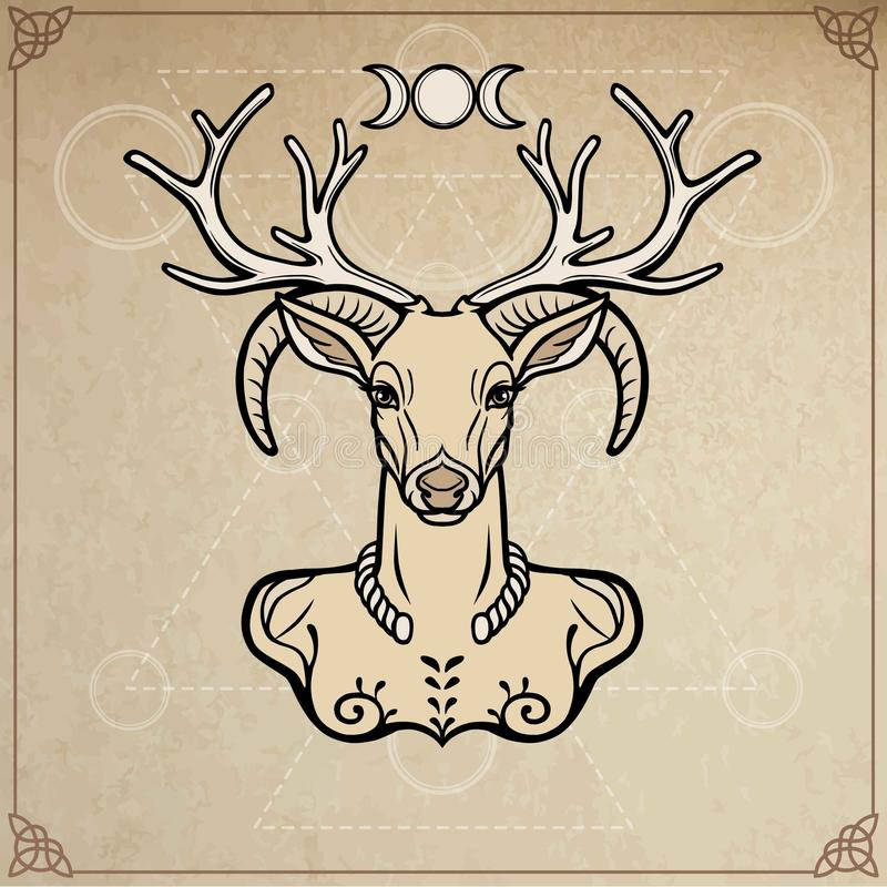 Dio cornuto Cernunnos Misticismo, esoterico, paganesimo, occultismo Illustrazione di vettore illustrazione vettoriale