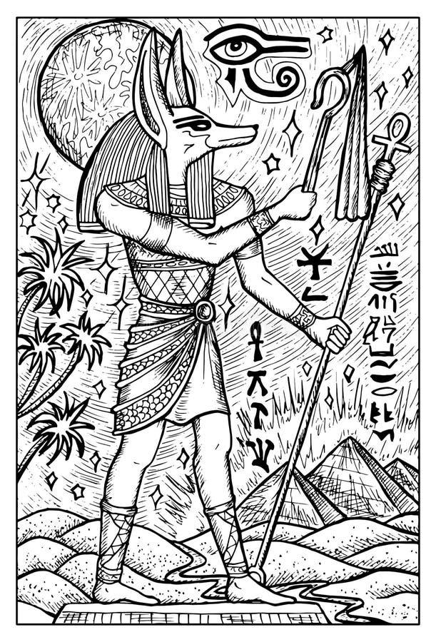 Dio dell'Egiziano di Anubis Illustrazione incisa di fantasia illustrazione vettoriale