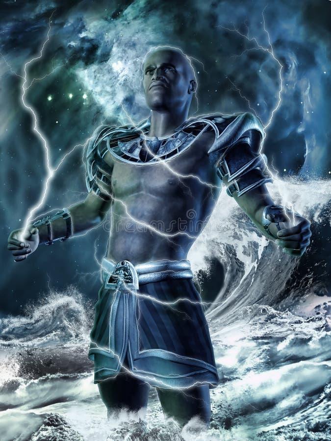 Dio di fantasia con i bulloni di fulmine illustrazione di stock