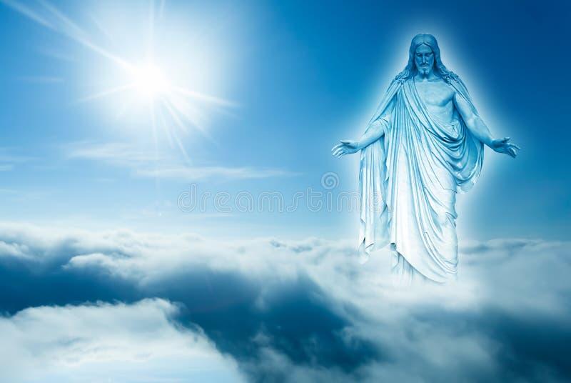 Dio guarda giù dal concetto di cielo della religione immagini stock