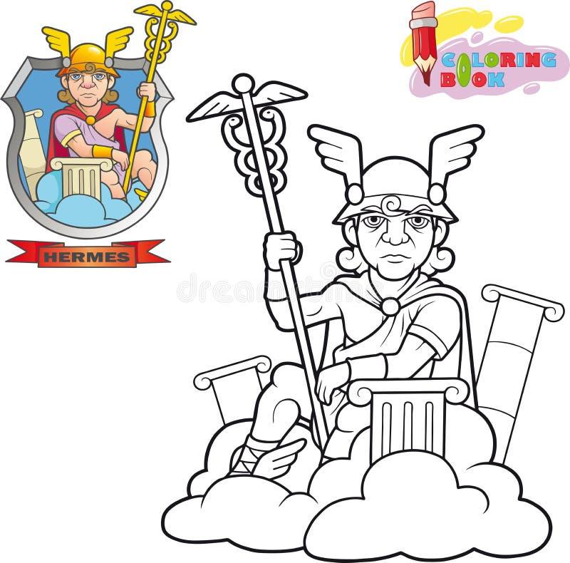 Dio Hermes, libro da colorare, illustrazione divertente del greco antico illustrazione vettoriale