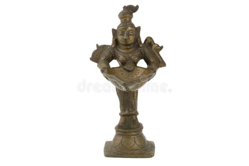 Dio indù Figura indù antica diritta del bronzo del dio con una ciotola fotografie stock libere da diritti