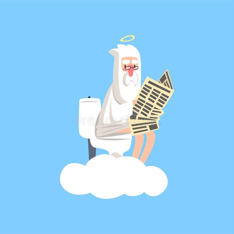 Dio sulla nuvola bianca con l'alone sopra la sua testa che si siede sulla toilette e che legge giornale Tema religioso cristiano  royalty illustrazione gratis