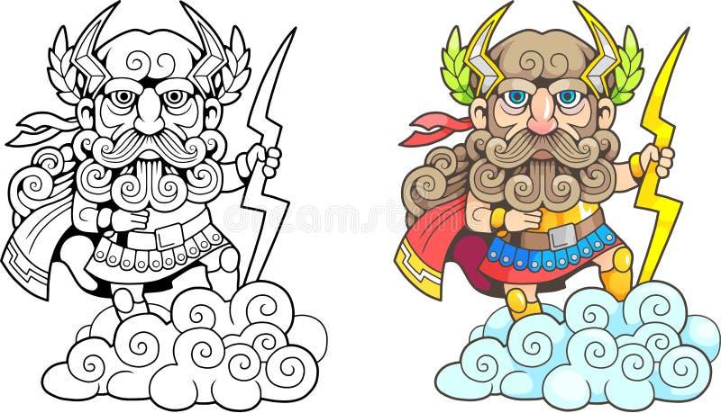 Dio Zeus, illustrazione divertente, libro da colorare del greco antico illustrazione vettoriale