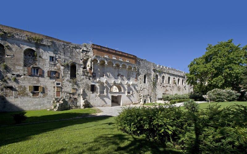 Diocletian宫殿,分裂,克罗地亚北部墙壁  免版税图库摄影