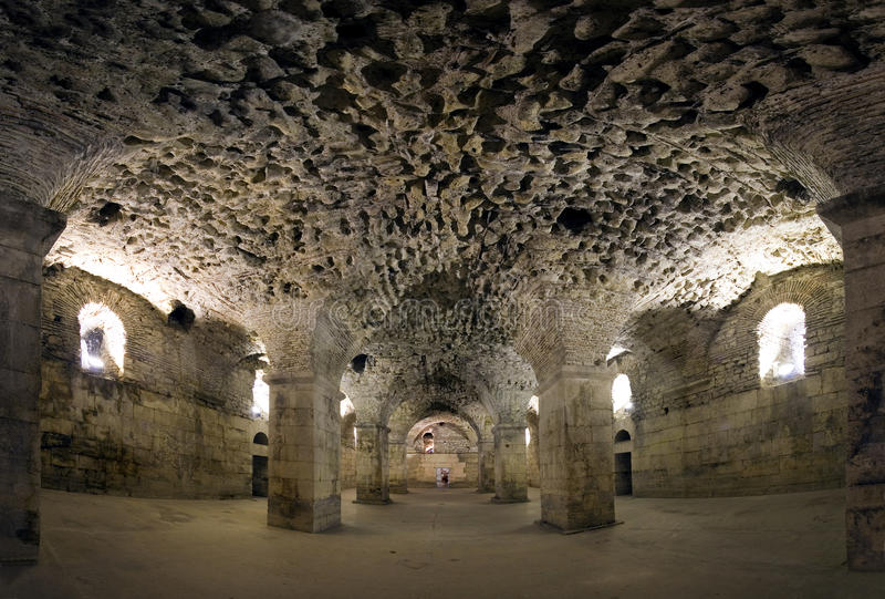 Diocletian宫殿,分裂镇,克罗地亚地下  库存照片