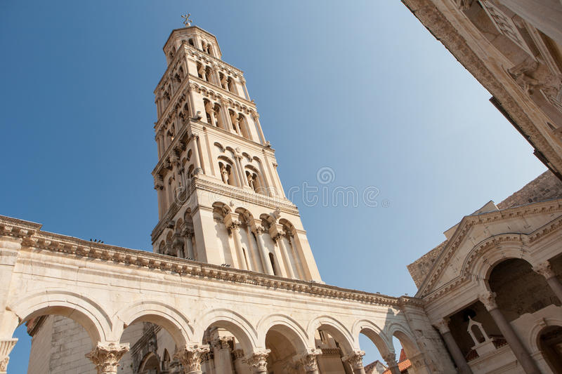 Diocletian Palace with the tower in Split, Croatia royalty free stock images