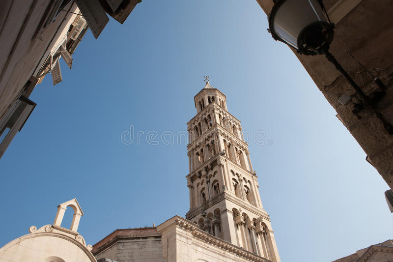 The Diocletian Palace with the tower in Split, Croatia royalty free stock photo