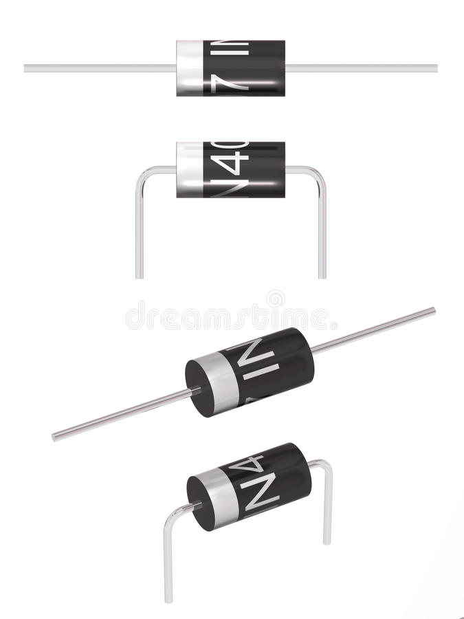 Diode cylindrical. The three-dimensional image of the diode on a white background stock illustration