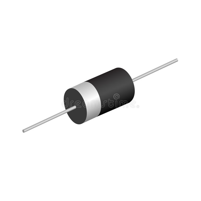 Diode. Electronic components diode on white background stock illustration