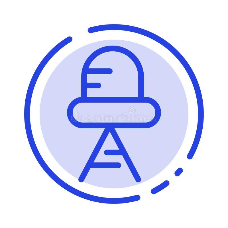 Diode, Led, Light Blue Dotted Line Line Icon stock illustration