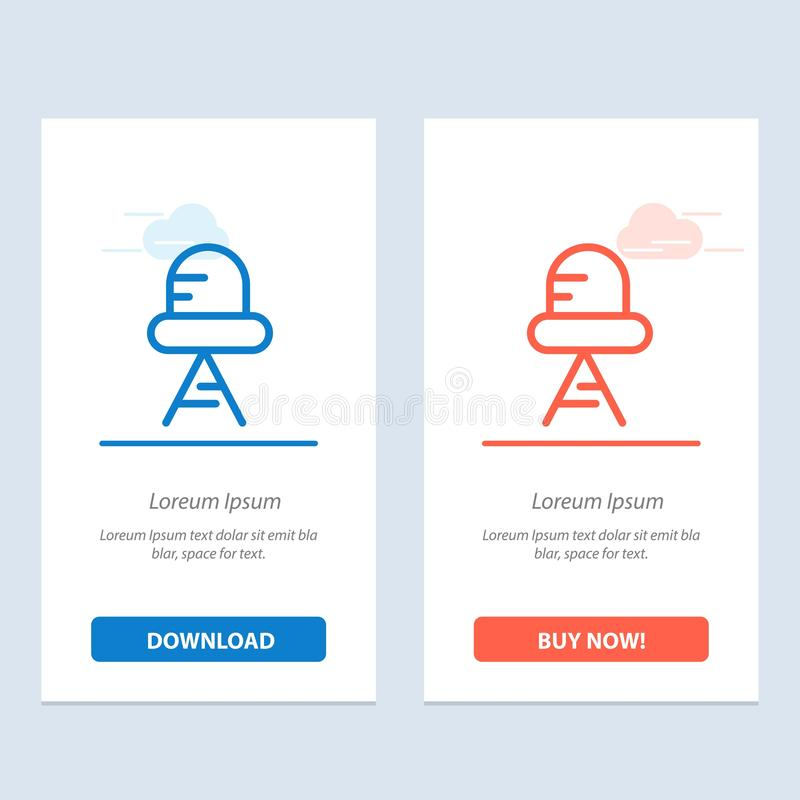 Diode, Led, Light  Blue and Red Download and Buy Now web Widget Card Template royalty free illustration