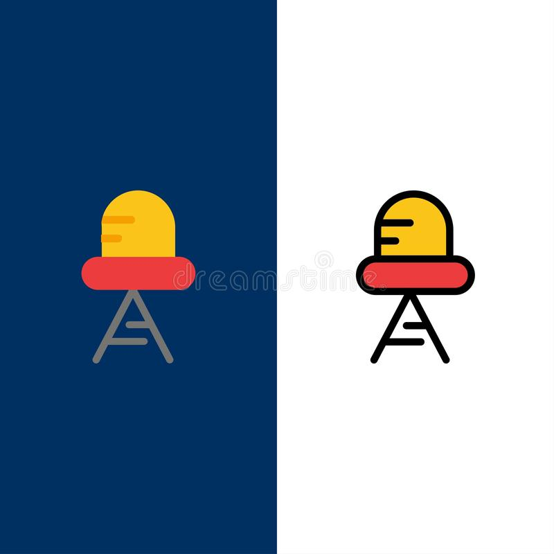 Diode, Led, Light  Icons. Flat and Line Filled Icon Set Vector Blue Background royalty free illustration