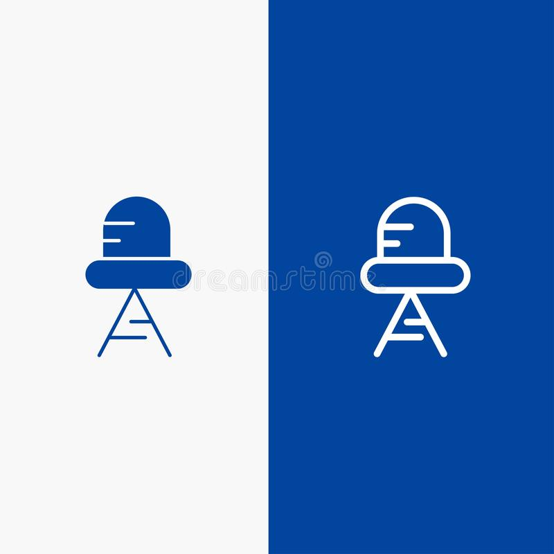 Diode, Led, Light Line and Glyph Solid icon Blue banner Line and Glyph Solid icon Blue banner vector illustration