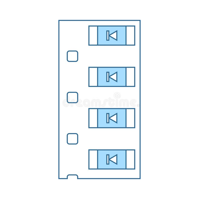 Diode Smd Component Tape Icon. Thin Line With Blue Fill Design. Vector Illustration stock illustration