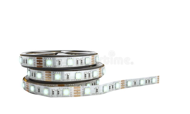 Diode strip Led lights tape in holder close-up 3d render on whit. E no shadow stock illustration