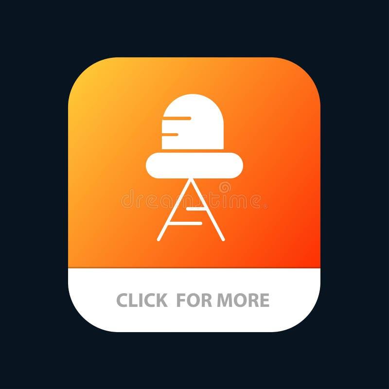 Diodo, botón móvil llevado, ligero del App Android y versión del Glyph del IOS stock de ilustración