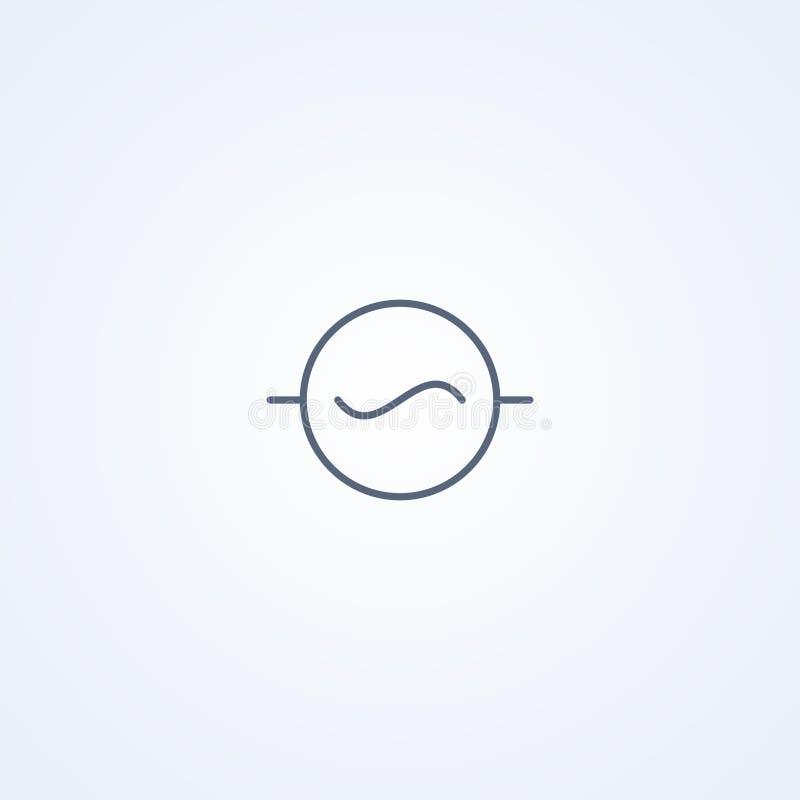 Diodo de la CA, la mejor línea gris símbolo del vector stock de ilustración