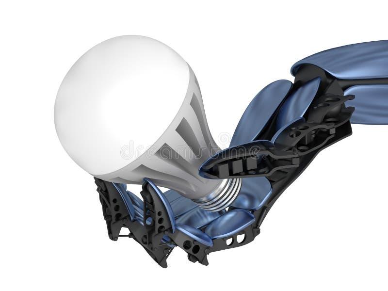 Diodo electroluminoso - lámpara del LED con la mano del cyborg stock de ilustración